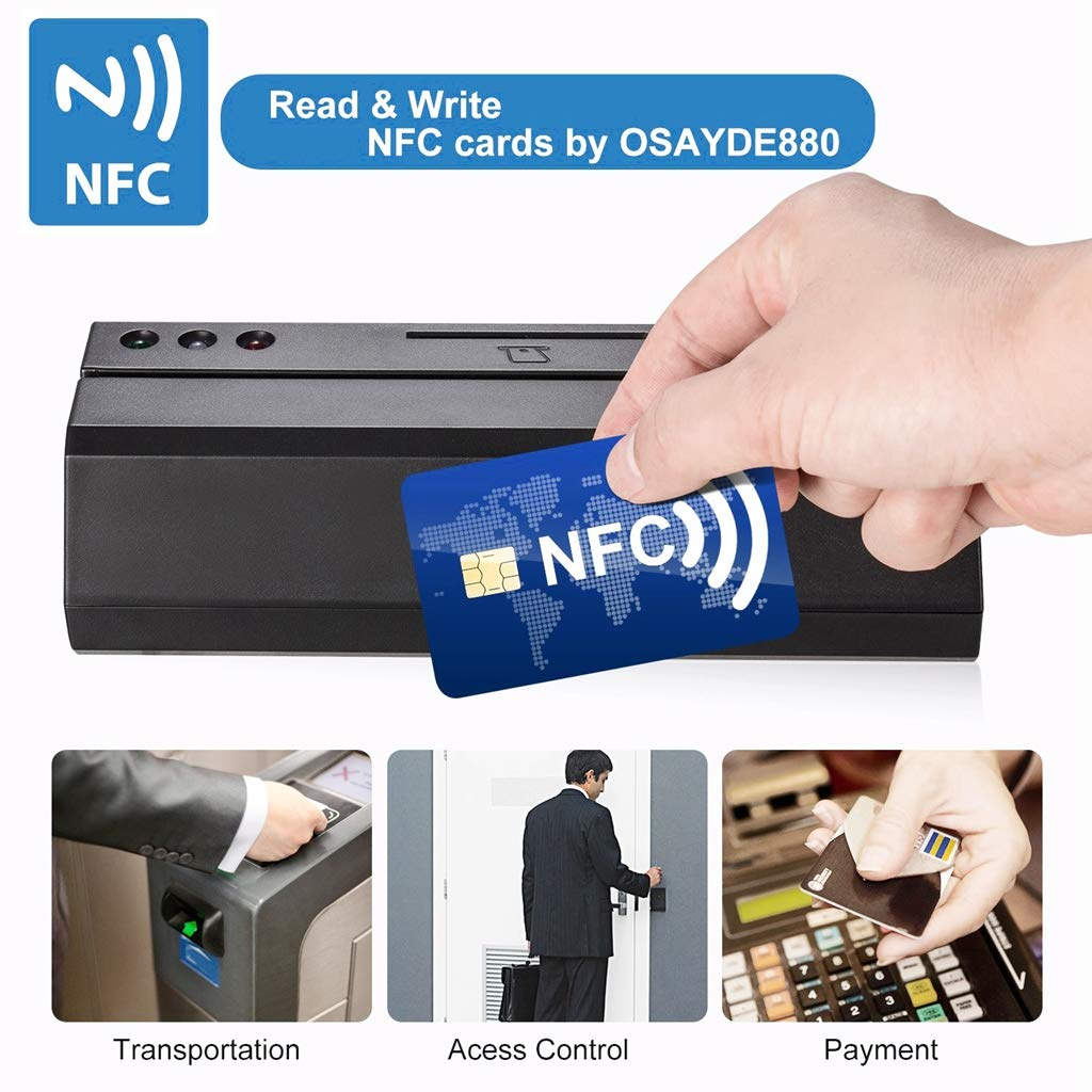 OSAYDE USB Magnetic Credit Card Reader - New 880 for Magstripe,IC,NFC and Psam Cards Reader and Writer, with 20 PCS Blank Cards