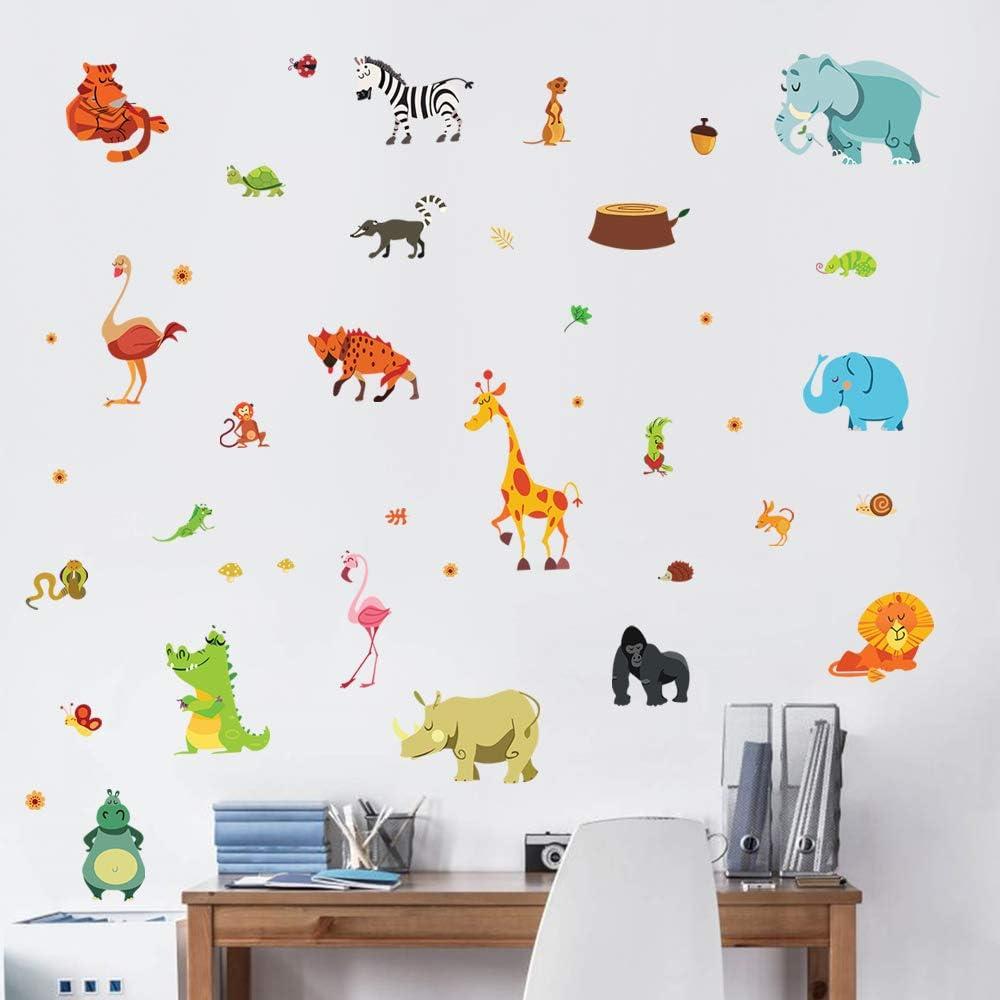 decalmile Adesivi Murali Animali della Giungla Adesivi da Parete Bambini Elefante Giraffa Zebra Decorazione Murale Camerette Bambini Asilo Nido Camera da Letto Soggiorno