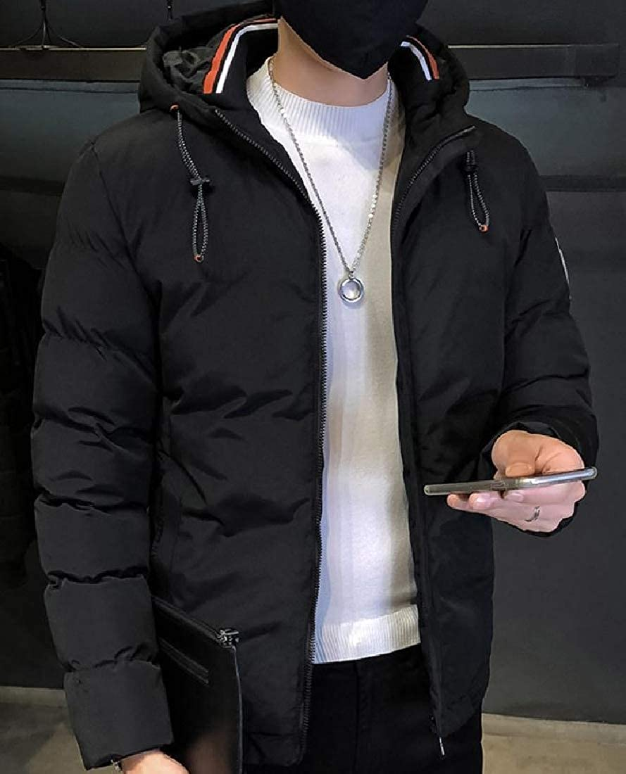 YUNY Mens Oversized Applique Big /& Tall Puffer Jacket with Hood Black 3XL