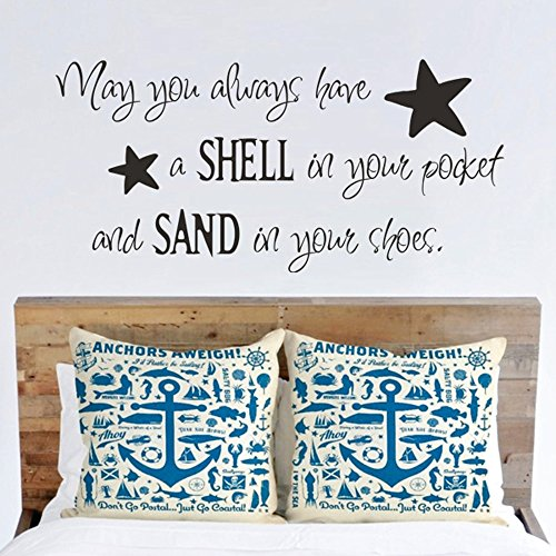 (MairGwall May You Always Have a Shell in Your Pocket Wall Decal - Beach Nautical Vinyl Wall Quote Saying (White,)