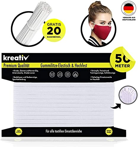 1€//1m Gummiband 10m Gummilitze Flachgummi 7mm weiß Maske nähen Gummi