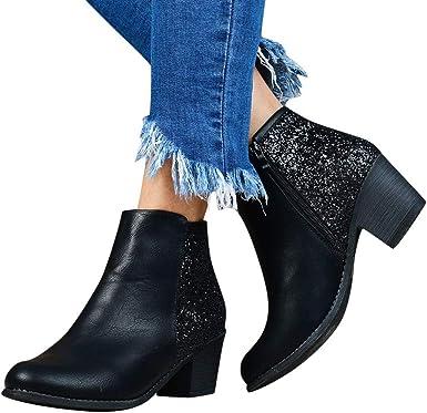 Ladies Womens Casual Block Heels Flat Elastic Ankle Chelsea Boots Work Office Sh