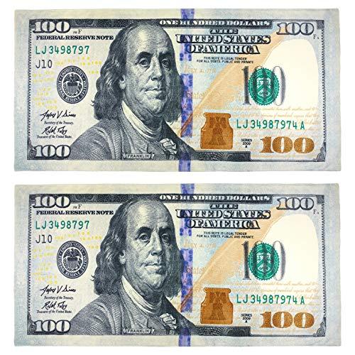(New 100 Dollar Bill Printed Beach Towel (106028) - 2 Pack Set)