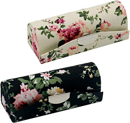 2 Pack caja de pintalabios con espejo, diseño floral elegante, espacio para pintalabios: Amazon.es: Belleza