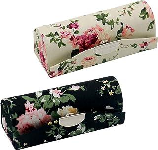 2 pack Étuis de Rangements Rouge à Lèvres avec Miroir, Motif Floral Élégant (blanc et noir)
