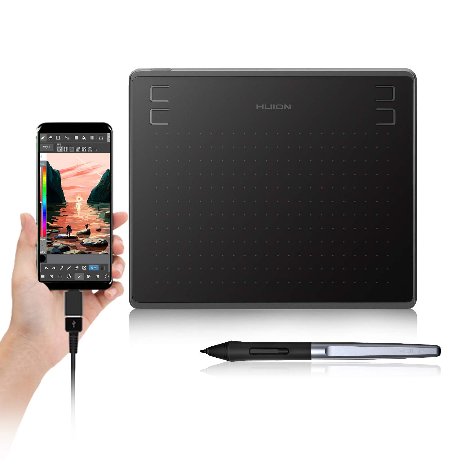 Huion HS64 Digital Graphics Drawing Tablet with Battery-Free Stylus and 4 Express Keys, 8192 Pressure Sensitivity, Compatible with Mac, PC or Android Mobile