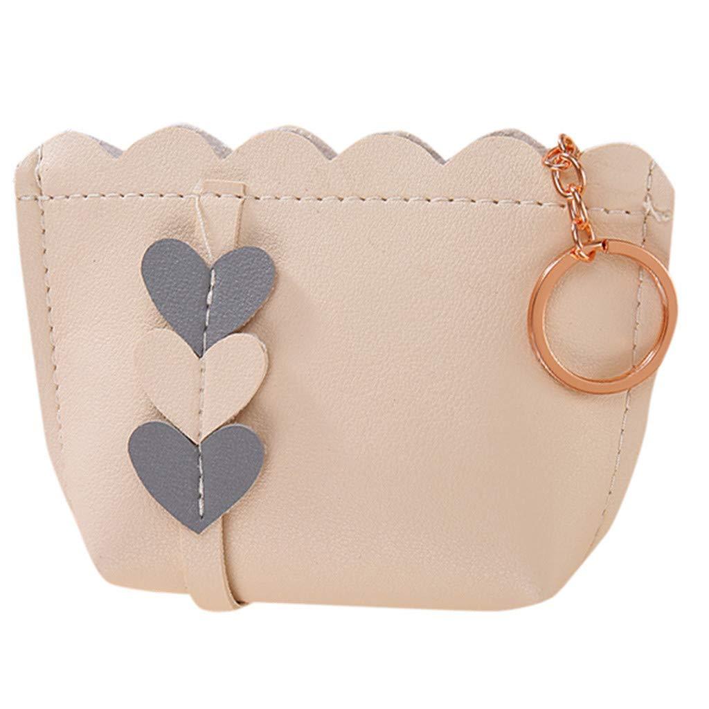 Women UArtificial Leather Love Decoration Zipper Handbag Clutch Bags Coin Value Set (Beige)