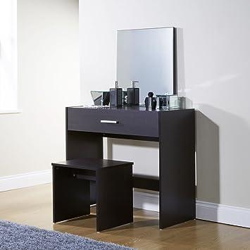 Tocador Julia Espresso contemporáneo y moderno, con espejo, cajón de