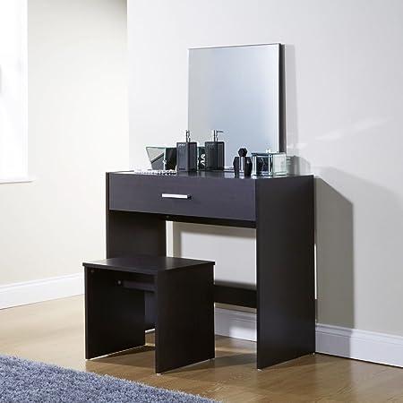 Julia Espresso Modern Contemporary Dressing Table Set Stool Mirror ...