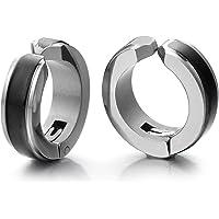 2pcs Steel Silver Black Huggie Hinged Hoop Earrings Non-Piercing Clip On Earrings Unisex Men Women Boys