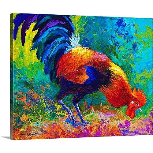 Scratchin Rooster Canvas Wall Art Print, 30 x24 x1.25