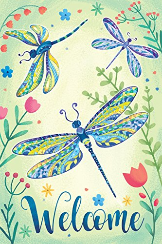 Dragonfly Welcome Garden Flag Double Sided