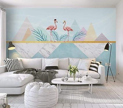 Carta Da Parati Come Un Quadro.Carta Da Parati 3d Murales Nordic Dipinto A Mano Fenicotteri