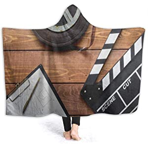 EJudge Fleece Wearable Hooded Blanket Vintage Movie Clapboard Tape Soft Cozy Fuzzy Plush Twin Blankets Hoodie Microfiber Throw for Couch Sofa Chair Fall Nap Travel Adults/Womens/Mens Throw
