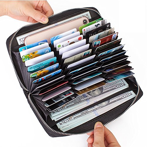 Card Black Credit Wallets - Buvelife Credit Card Wallet Leather RFID Wallet with Zipper for Women or Men, Huge Storage Capacity Credit Card Holder (Black)
