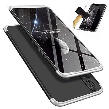 Funda Huawei Honor 8X, Carcasa Huawei Honor 8X con [ Cristal Templado] 3 en 1 Desmontable 360 Grados Anti-Arañazos Protectora Caso, Silver y Negro