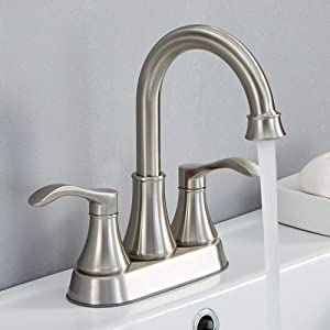 VALISY 2 Handle Stainless Steel Brushed Nickel Bathroom Sink Faucet, Lavatory Faucets Set with Pop-up Drain & Water Hoses