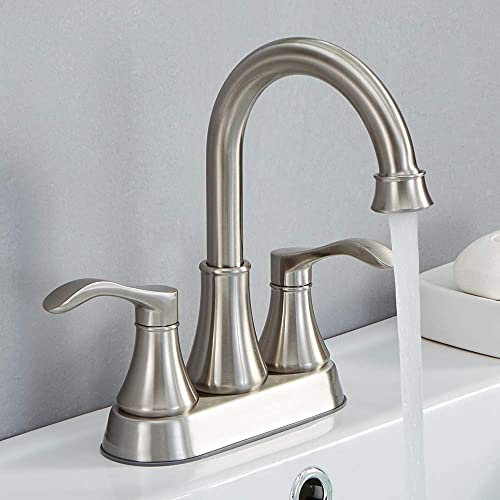 VALISY 2 Handle Stainless Steel Brushed Nickel Bathroom Sink Faucet, Lavatory Faucets Set with Pop-up Drain Water Hoses