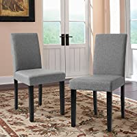 Furmax Dining Chairs Fabric Kitchen Parson Chair Urban Style Dining Side Chair With Solid Wood Legs Set of 2 (Grey)