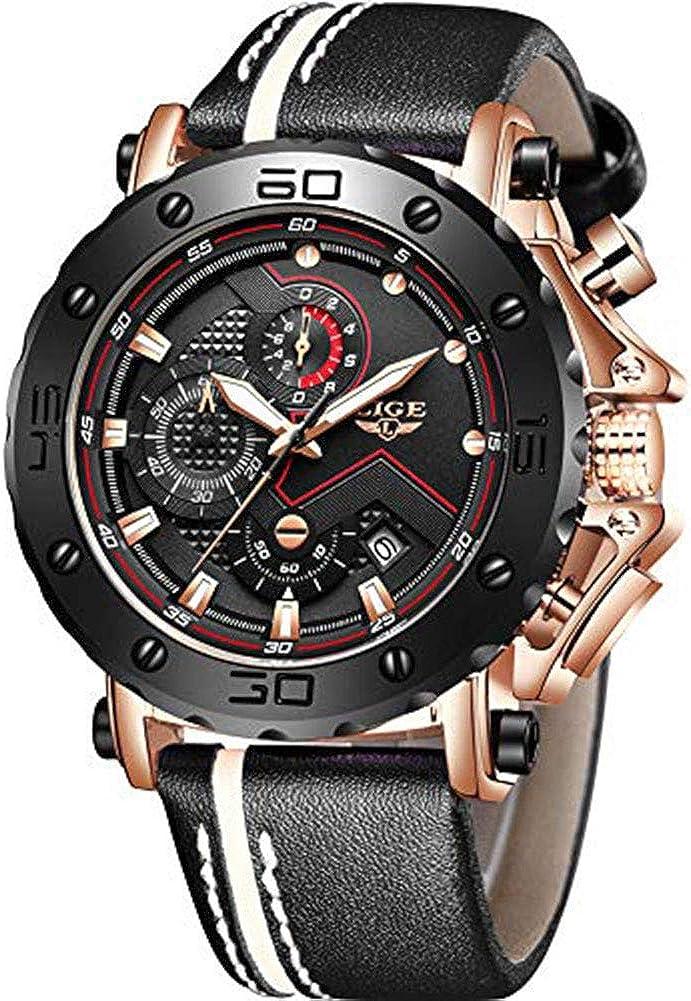 LIGE Relojes para Hombre Militares Deportivos Moda Analógico de Cuarzo Impermeable Cronógrafo Negro Esfera Grande Piel Reloj de Pulsera