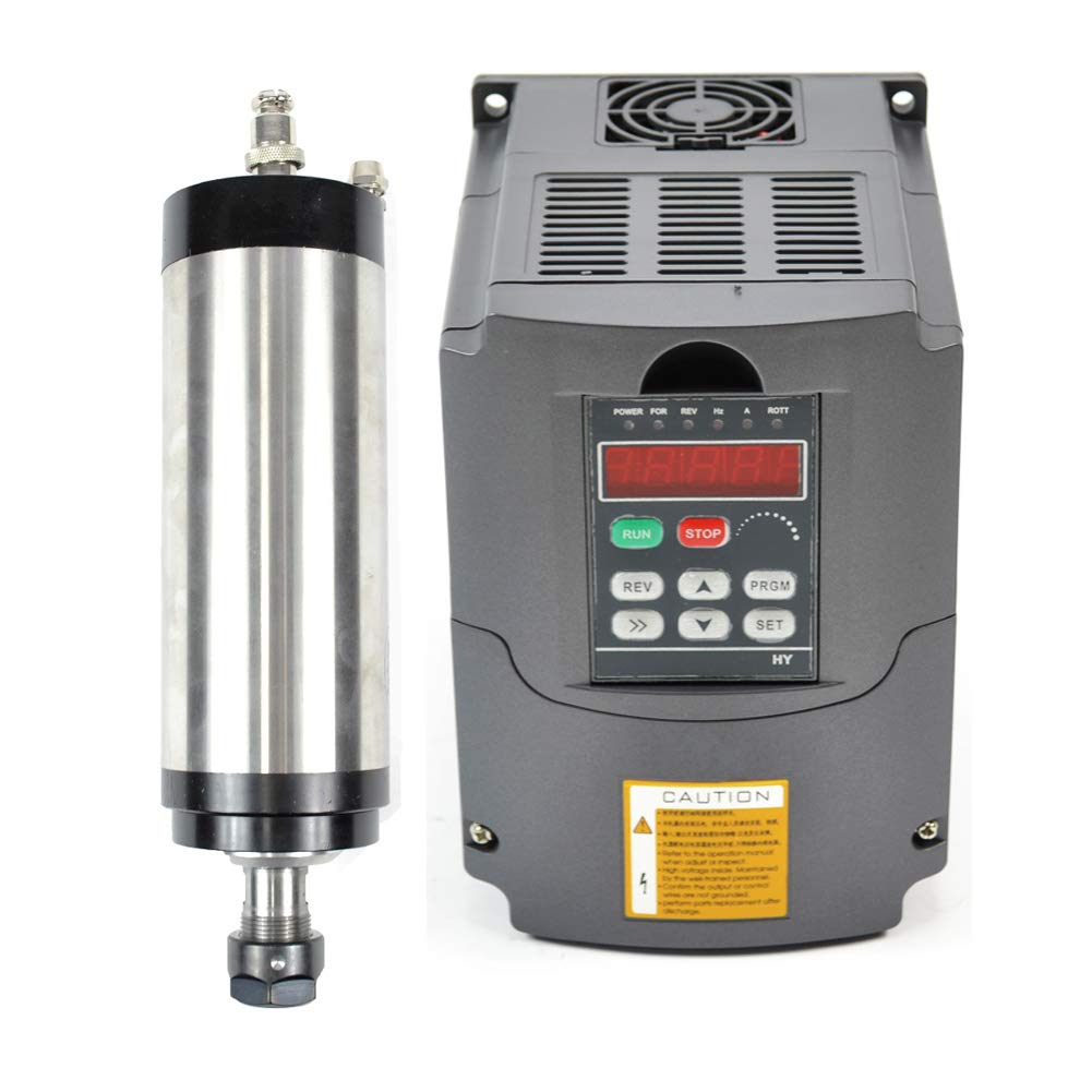 220v 2.2KW Water Cooled Er20 Japanese Bearing CNC Spindle Motor and Matching 2.2kw Variable Frequency Drive Inverter