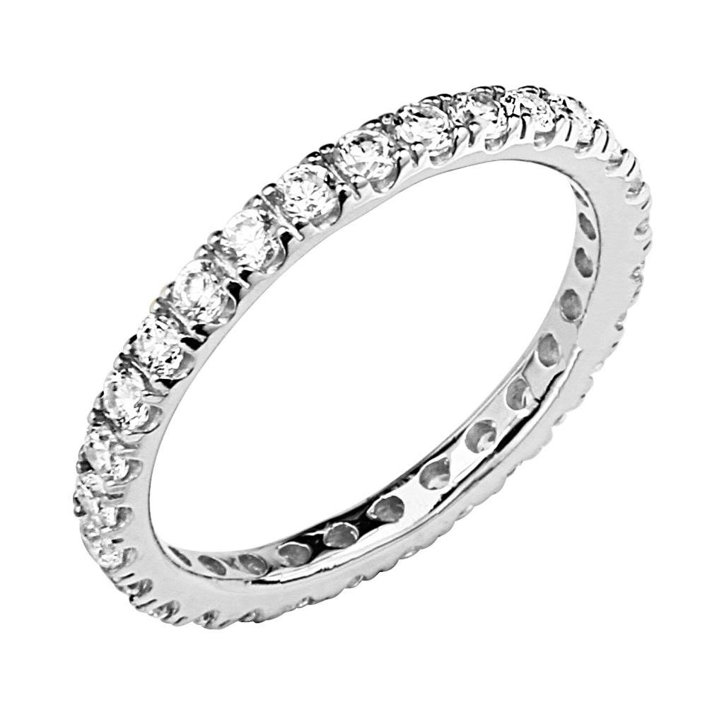 .925 Sterling Silver Rhodium Plated 2.5mm Eternity Band GoldenMine
