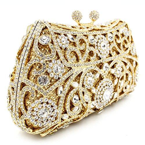 Damen Clutch Abendtasche Handtasche Geldbörse Glitzertasche Strass Kristall Muster Tasche mit wechselbare Trageketten von Santimon(11 Kolorit) Gold 01 IgFMx