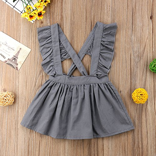2c8f2434271 XARAZA Toddler Baby Girls Strap Suspender Skirt Overalls Dress Outfit  (Grey