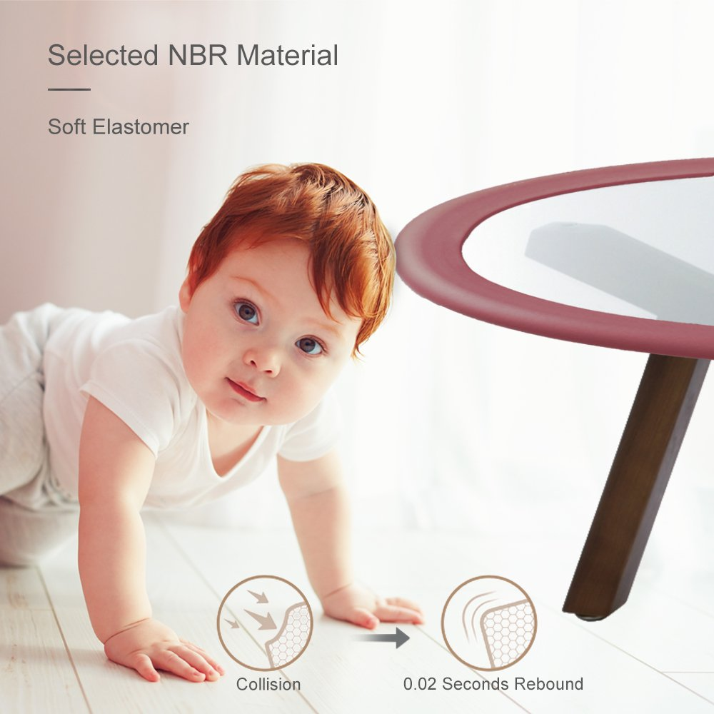 Tritina Glass Table Protector Bumper,6.6ft / 2m U Type Corner Cushion Round Coffee Desk Home Safty 1st,Baby Guard,Kid Children Proof (Brown) by Tritina (Image #6)