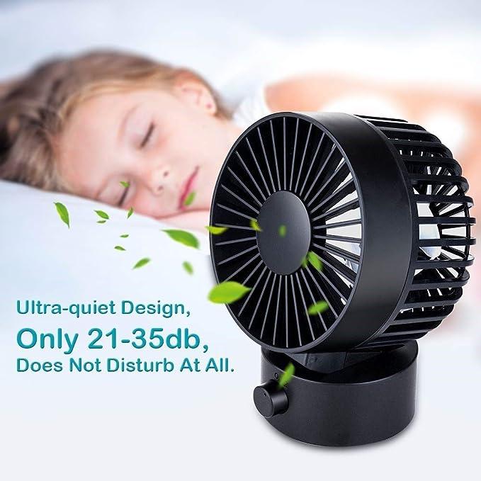 AYOUYA Desk Fan Noiseless USB Fan Cooling Fan with Adjustable Head Mini Size Desktop Fan for Home Office Outdoor Travel 2 Speeds Double Fan Blades