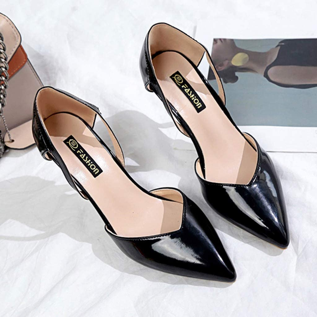 Women High Heel Shoes Wedding Party Pumps Solid Color Closed Toe Pointed Head Thin Heel Court Shoes Fashion Soft Leather Dress Wedding Shoes