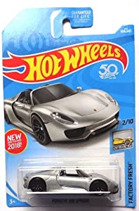 Hot Wheels 2018 50th Anniversary Factory Fresh Porsche 918 Spyder 184/365, Silver