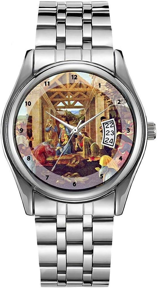 Reloj de lujo para hombre 30 m impermeable fecha reloj masculino deportes relojes hombres cuarzo casual Navidad reloj de pulsera adoración de los magos - Sandro Botticelli reloj de pulsera
