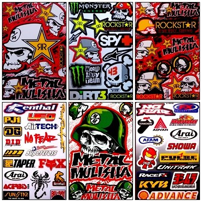 Set 6 Sheet Rockstar Energy Yamaha Kawasaki Metal Mulisha ATV Helmet Bike Motorcycle Motocross Racing Decal (Yamaha Die Cut Decals)