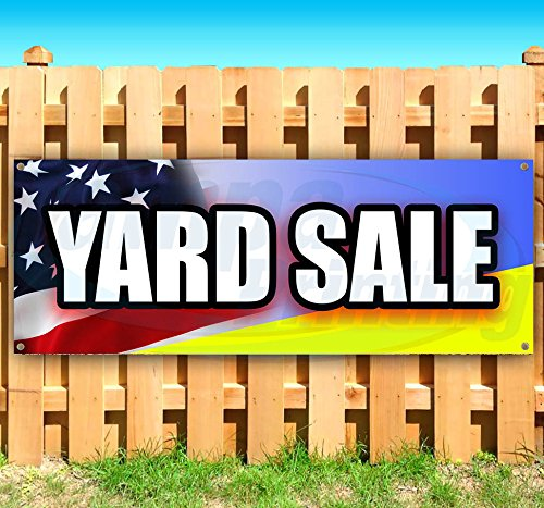 Yard Sale 13 oz Heavy Duty Vinyl Banner Sign with Metal Grommets, New, Store, Advertising, Flag, (Many Sizes Available) (Yards Flag Banner)