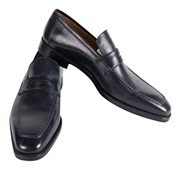 aae8dffe7901f Sutor Mantellassi Navy Blue Leather Penny Loafers Shoes Size 16 U.S. ...
