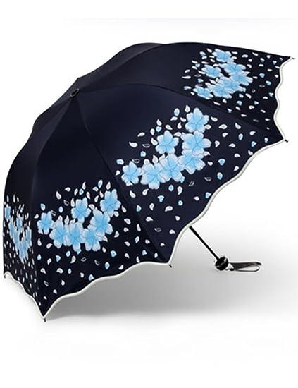 Parasol protección UV Mujer súper Protector Solar plástico Negro Plegable Tres Paraguas Paraguas sombrilla Estudiante Paraguas