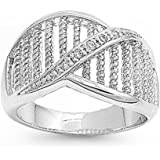 Sterling Silver Rope Design Clear Cubic Zirconia CZ Ring