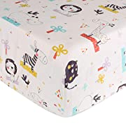 Crib Sheet UOMNY 100% Natural Cotton Baby Coverlet Toddler Sheet Set for Baby Boys and Girls 1 Pack(Elephant Cat Pattern)