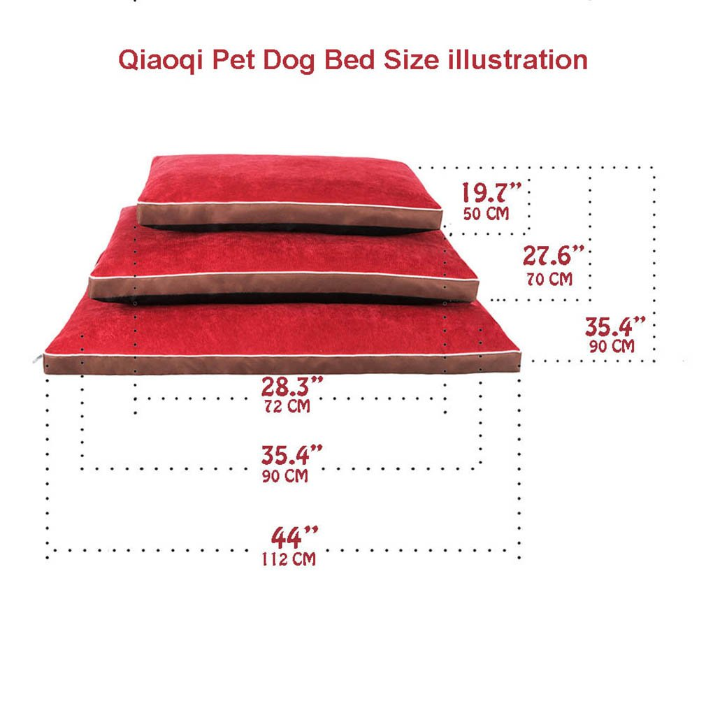 QIAOQI Dog Bed Delux Orthopedic Pet Cushion Mattress for Dogs and Cats Medium Wine Red by QIAOQI (Image #4)