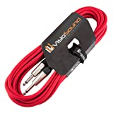 Guitar Lead 6.35mm Mono Jack to Jack / Instrument Cable / Patch Lead / 6 Colours 6m Red