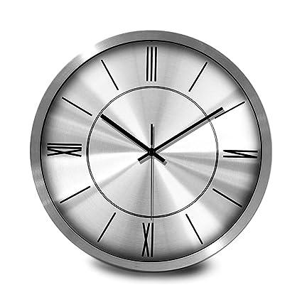 Amazon Com Wall Clock Modern Fashion Metal Circular Battery