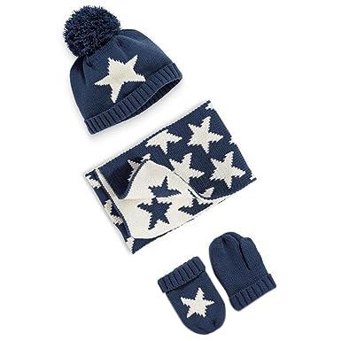 df2a1d96b122 OHmais Automne Hiver Coton Bonnet bébé oreilles ensemble chapeau gants  écharpe tricot étoile pour enfant bébé