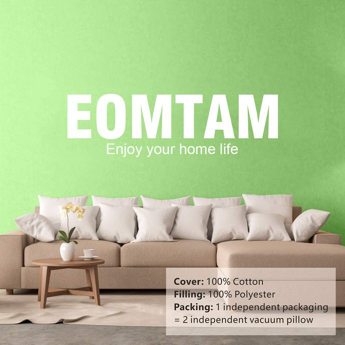Set of 2 16x 16,2Pack EOMTAM 16x16 Pillow Inserts - Couch Pillows with 100/% Cotton Cover