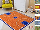 Handcraft rugs Kids Rugs. Play time/Basketball Court. Non-Slip/Rubber back Area Rug.