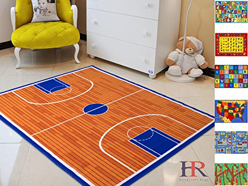 Handcraft rugs Kids Rugs. Play time/Basketball Court. Non-Slip/Rubber back Area (Nba Carpet)