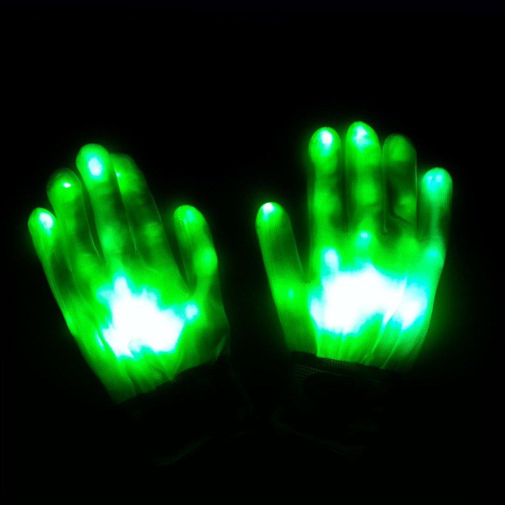 EoamIk Jeux de la Petite enfance Gants de Flash colorés Gants de Glow Rainbow LED Performance de Danse Fluorescente Props (Vert)