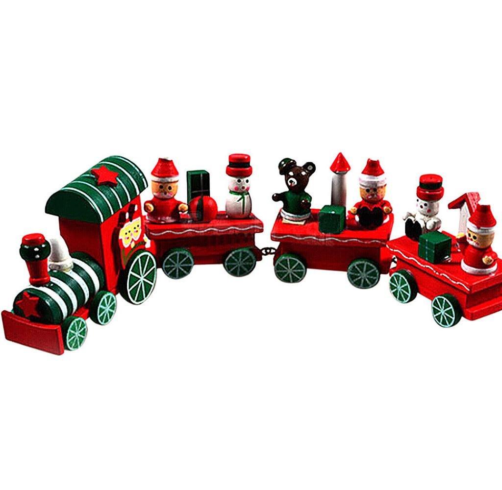 Christmas Train,Singleluci 4 Pieces Wood Xmas Train Decoration