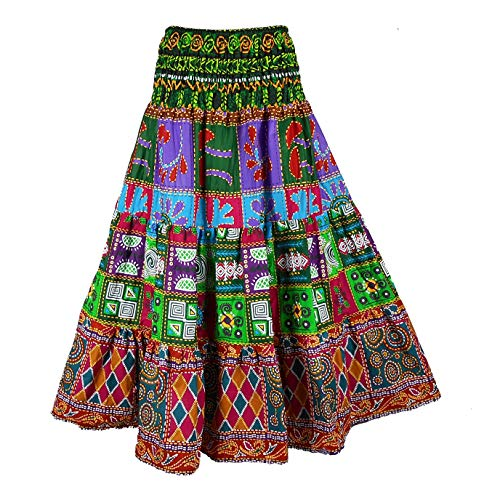 BONYA Women's Hippie Boho Colorful Patchwork Smocked Stretch Waist Long Skirt (Color1) -
