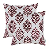CaliTime Pack of 2 Soft Jacquard Throw Pillow Covers Cases Couch Sofa Home Decoration Vintage Damask Floral 18 X 18 inches Burgundy